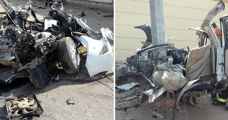 انشطار سيارة ومقتل سائقها بعد الاصطدام بعمود بالسعودية
