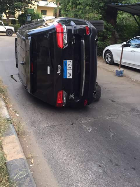 انقلاب سيارة خالد سليم جيب جراند شيروكي