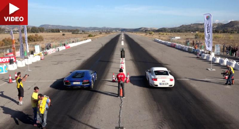 سباق سرعة يجمع بين افنتادور وبورش 911 تيربو بعد التعديل