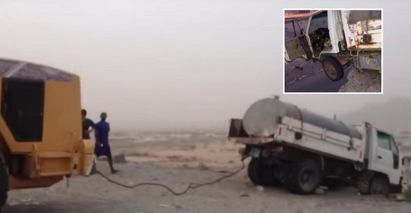 سحب شاحنة سعودية عالقة على حافة الهاوية