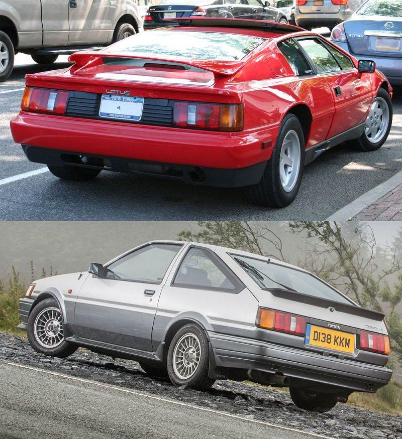 سيارة (لوتس اسبيريت) و سيارة (تويوتا كورولا كوبيه)