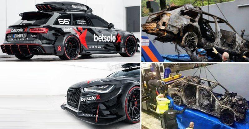 سيارة السباق اودي RS6 تحترق بالكامل بعد سرقتها في سطو مسلح