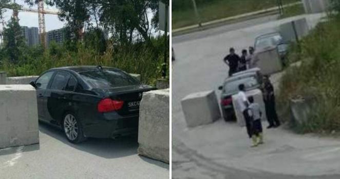 عمال غاضبون يعاقبون سائق بي ام دبليو