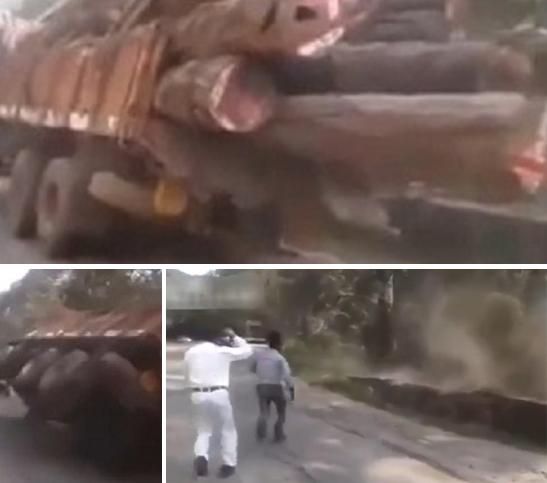 سقوط شاحنة عن منحدر بسبب الحمولة الزائدة