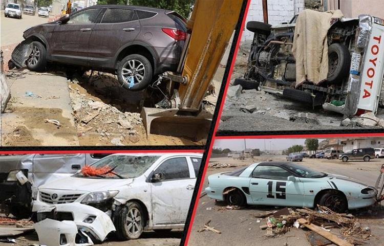 سيول مكة تخلف سيارات محطمة وطرق مدمرة