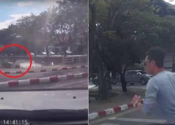 سائق بيك اب يفقد السيطرة ويسقط في بركة - فيديو