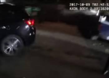شاهد اطلاق نار كثيف من الشرطة على سيارة