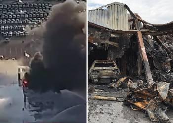 شاهد حريق في وكالة شفروليه يقضي على عشرات السيارات
