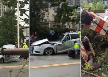 لحظة سقوط رافعة ضخمة على سيارة وسحقها
