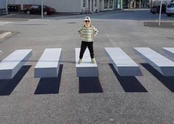 شاهد خداع بصري على الطريق يجبر السائقين على تخفيف سرعتهم