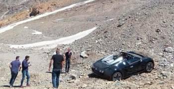 حقيقة صوراً بوغاتي فيرون محاطة بالصخور على منحدر