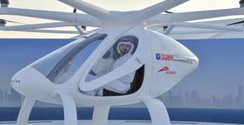 الشيخ فزاع يطلق التاكسي الجوي في سماء دبي