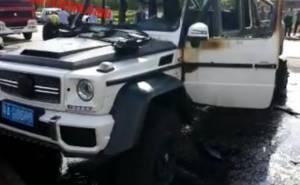 احتراق مرسيدس G63 AMG 6×6 مانسوري في حادث