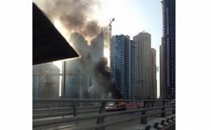اندلاع النيران بسيارة لمبرجيني افنتادور