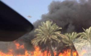 حريق هائل بسبب انقلاب ناقلة وقود