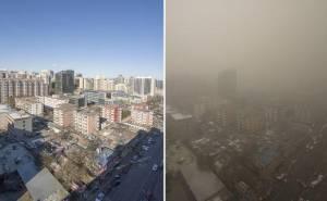 سحابة تلوث تغطي طرق بكين