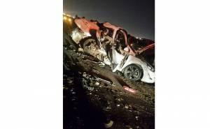 سيارة هونداي محطمة في حادث تصادم مع سيارة اخرى بالسعودية