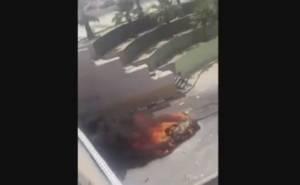 شاهد احتراق سيارة بعد انقلابها ومصرع سائقها بالسعودية