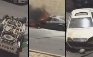 شاهد حادث جماعي على الطريق العام بالرياض