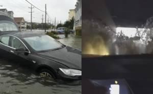 شاهد سائق تسلا يقرر اجتياز نفق غارق بمياه الفيضانات