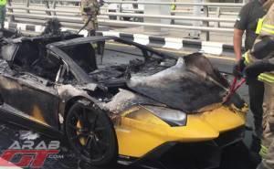 لمبرجيني افنتادور تحترق في دبي
