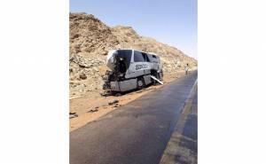 حافلة معتمرين بعد الحادث