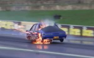 The explosion of a car race انفجار سيارة سباق