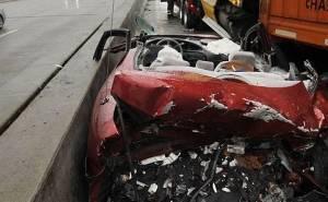 سيارة سحقت في الحادث