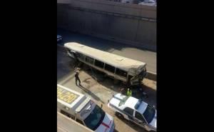 الحافلة التي سقطت في الرياض من الاعلى