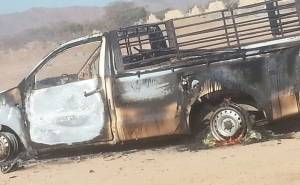 burned Hilux in Saudi Arabia