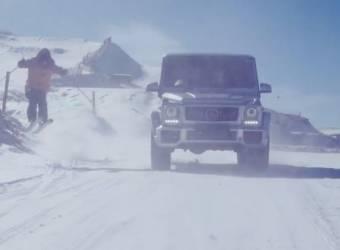 مرسيدس جي 63 تتزلج على الثلج