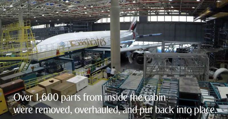 شاهد كيف يقوم طيران الإمارات بصيانة ايرباص ايه 380