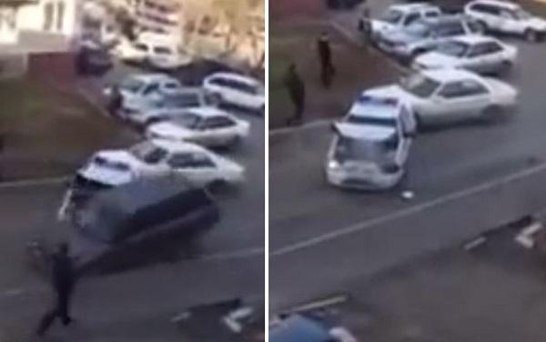 سائق يحطم دوريات الشرطة اثناء هروبه وسط اطلاق نار
